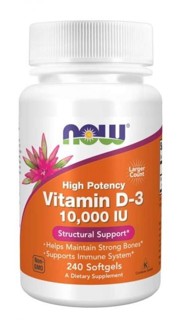 Vitamina D3 10,000 IU 240 Softgels Now foods